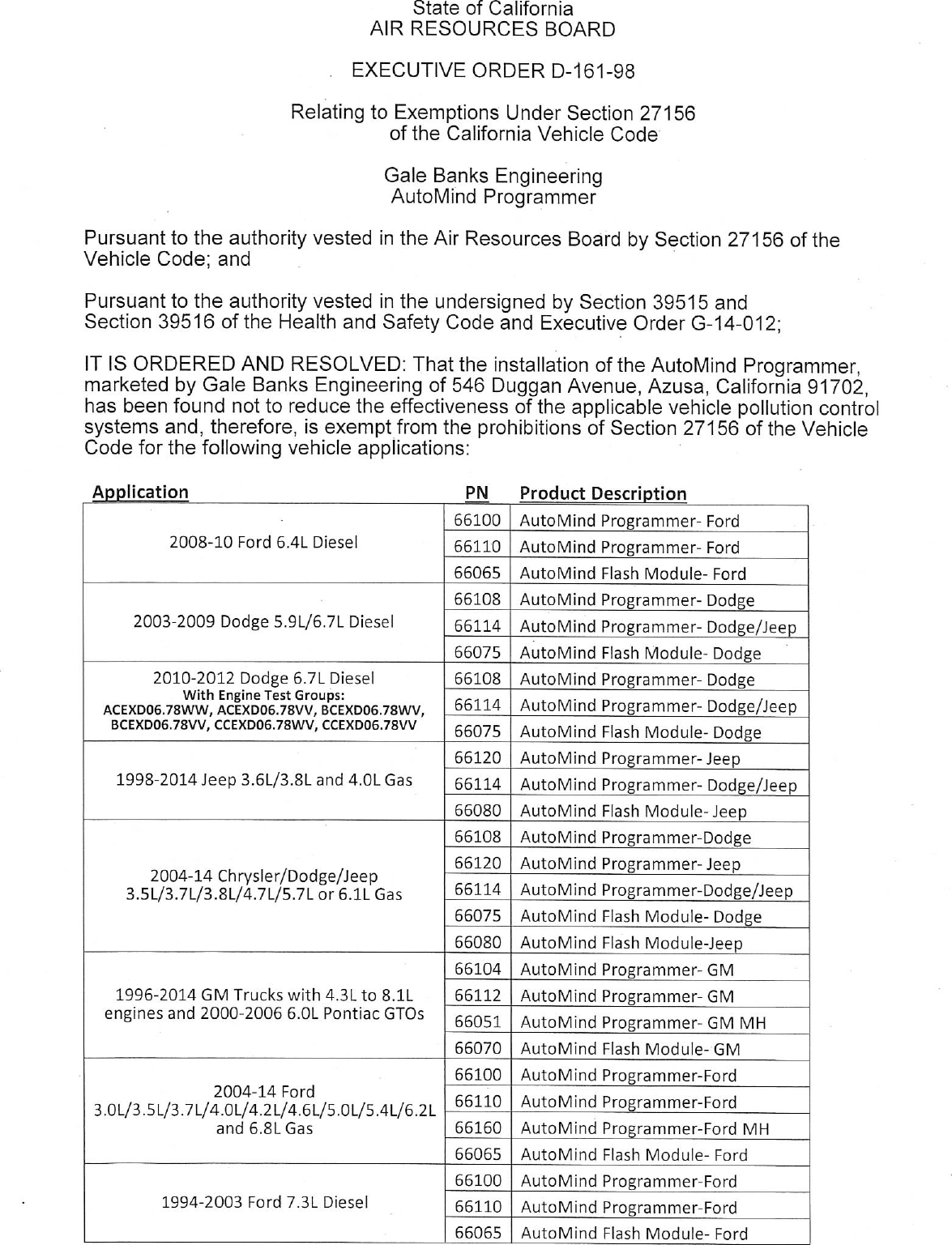 Executive Order D 161 98 Gale Banks Engineering 2014 Gm 4 3l Engine Document
