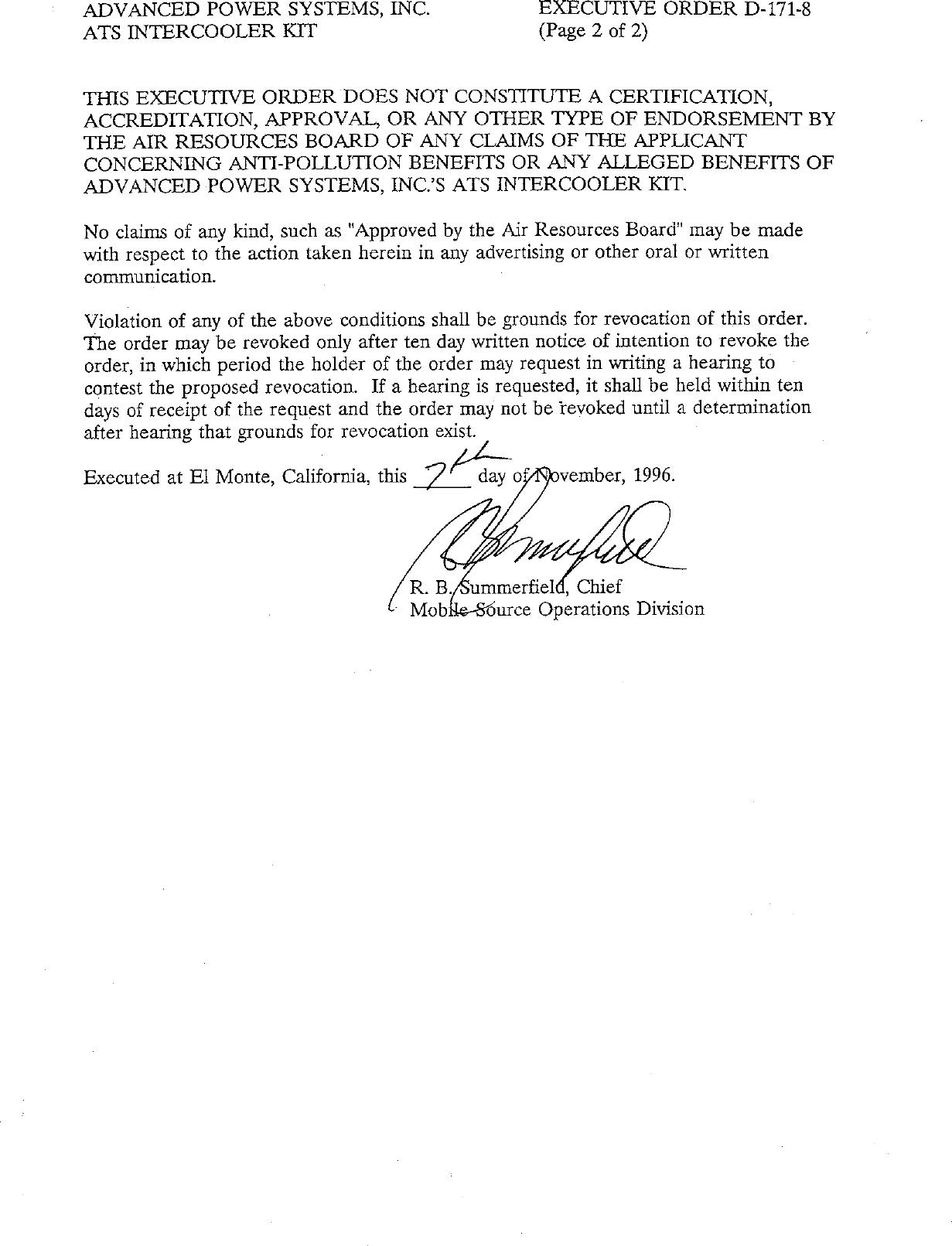 Executive Order D 171 8 Advanced Turbo Systems Inc