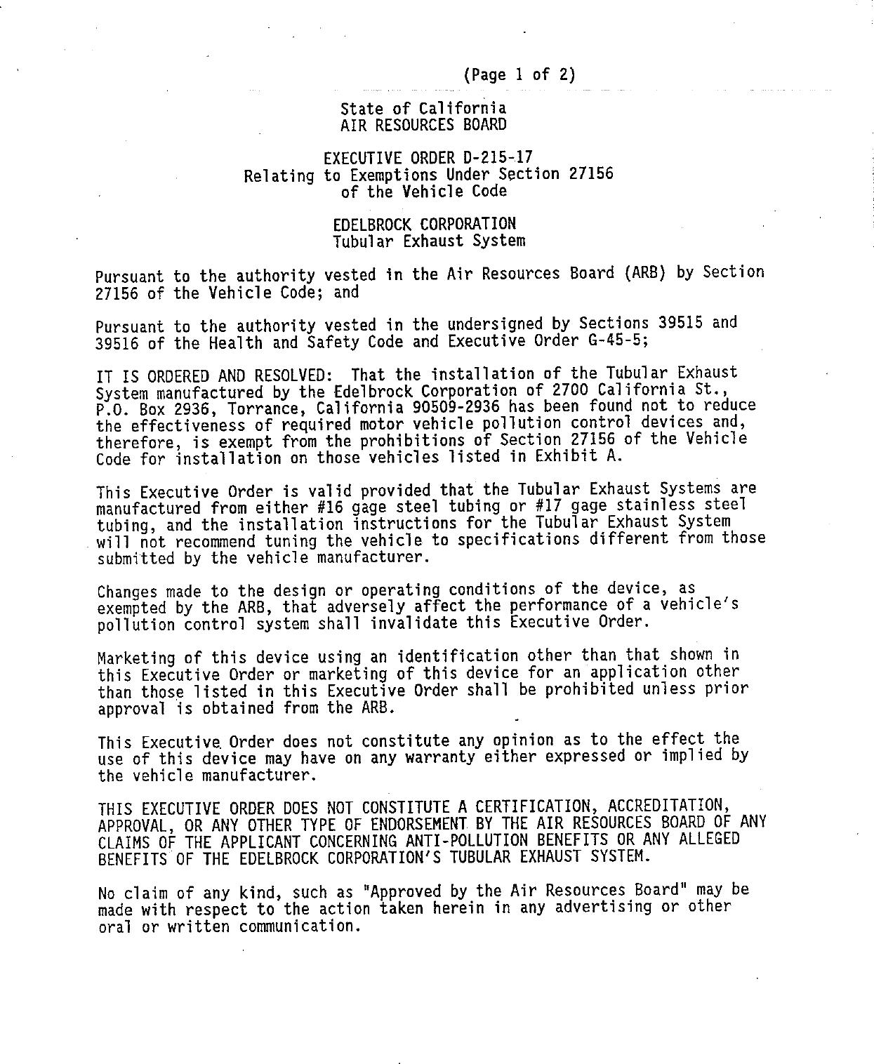 Executive Order D-215-17 Edelbrock