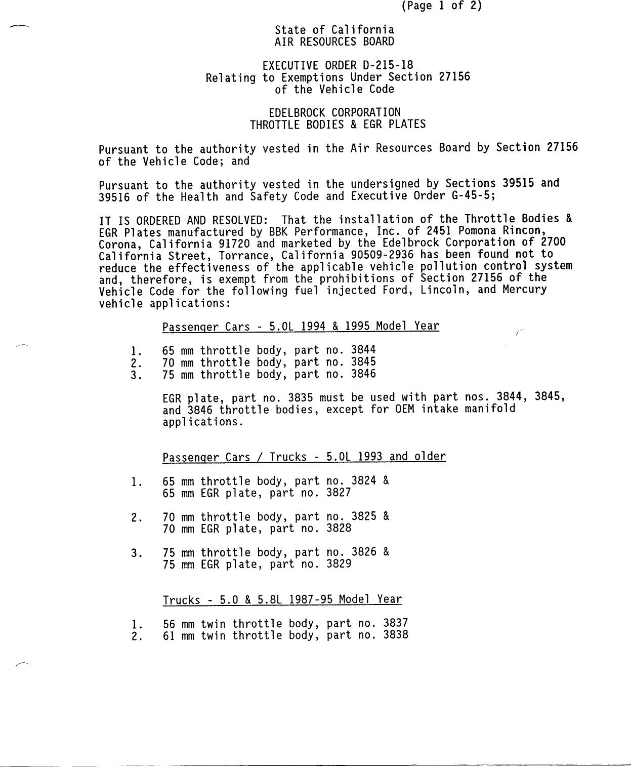 Executive Order D-215-18 Edelbrock