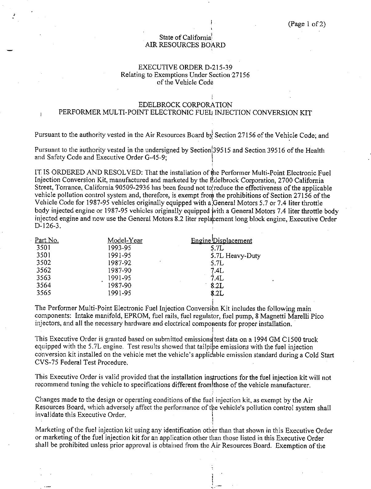 Executive Order D-215-39 Edelbrock