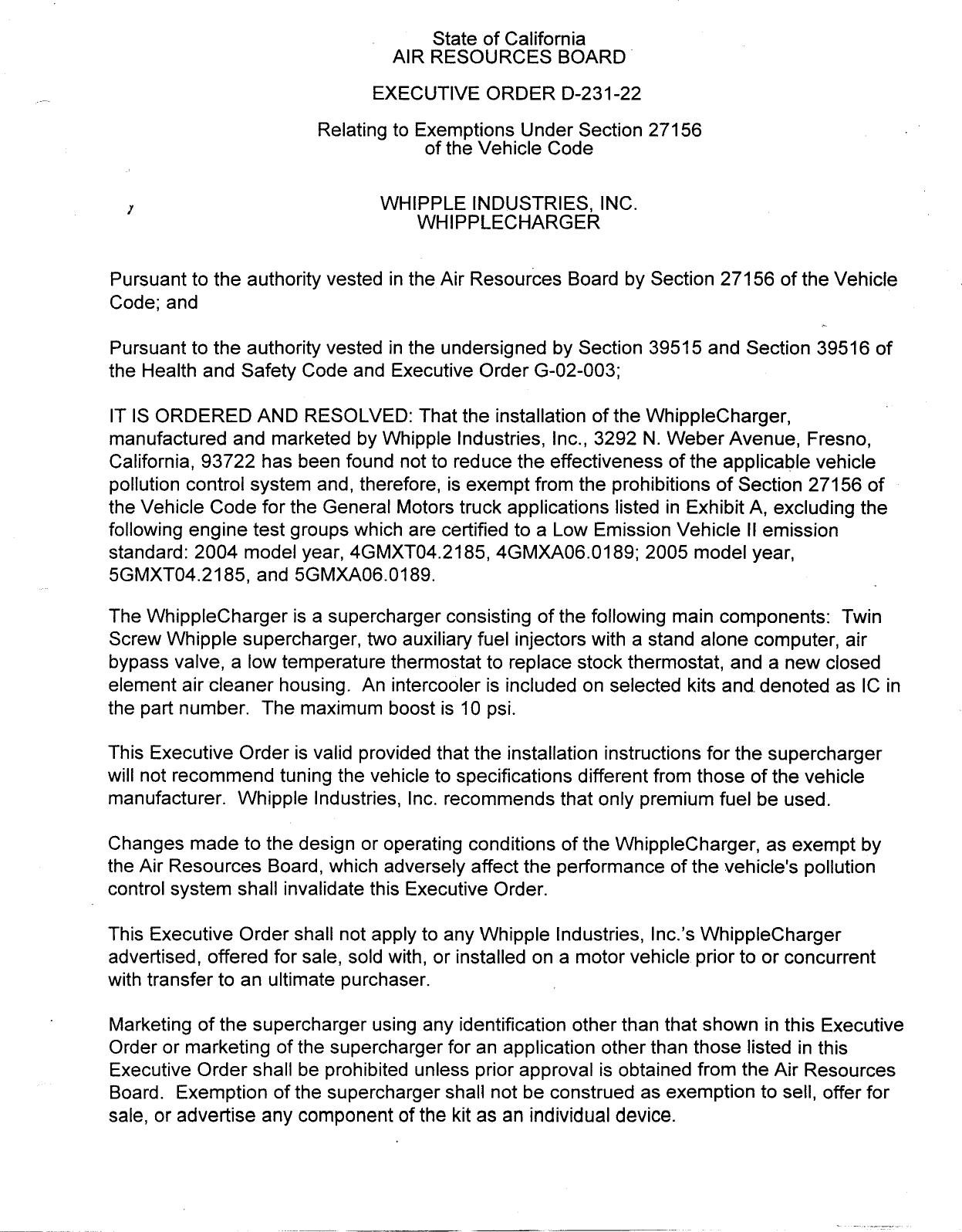 Executive Order D-231-22 Whipple Industries, Inc