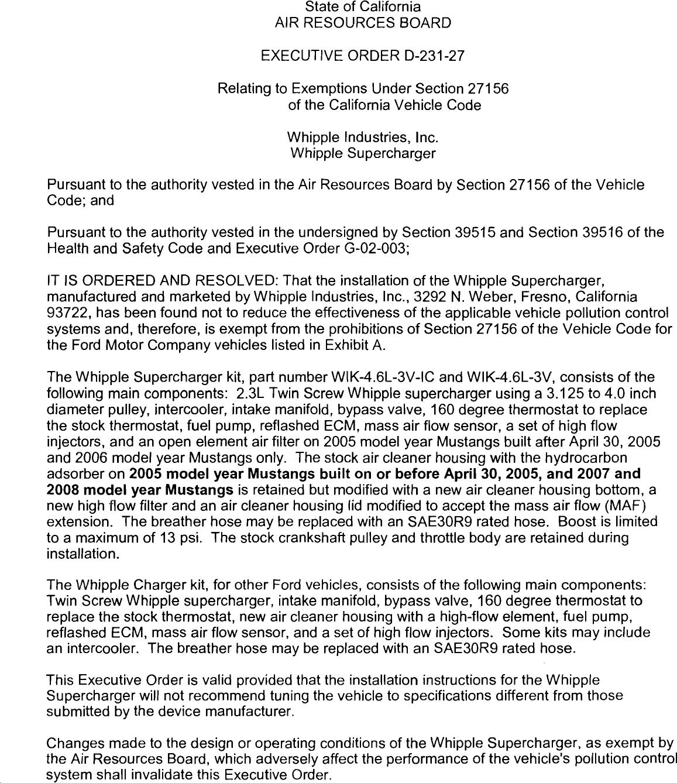 Executive Order D-231-27 Whipple Industries, Inc
