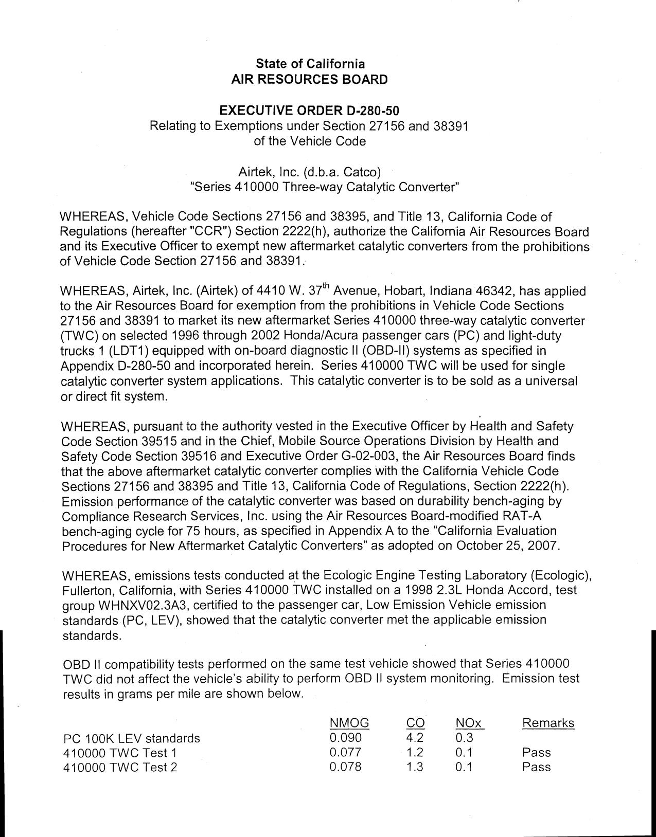 Executive Order D-280-50 AirTek, Inc. (d.b.a. Catco)