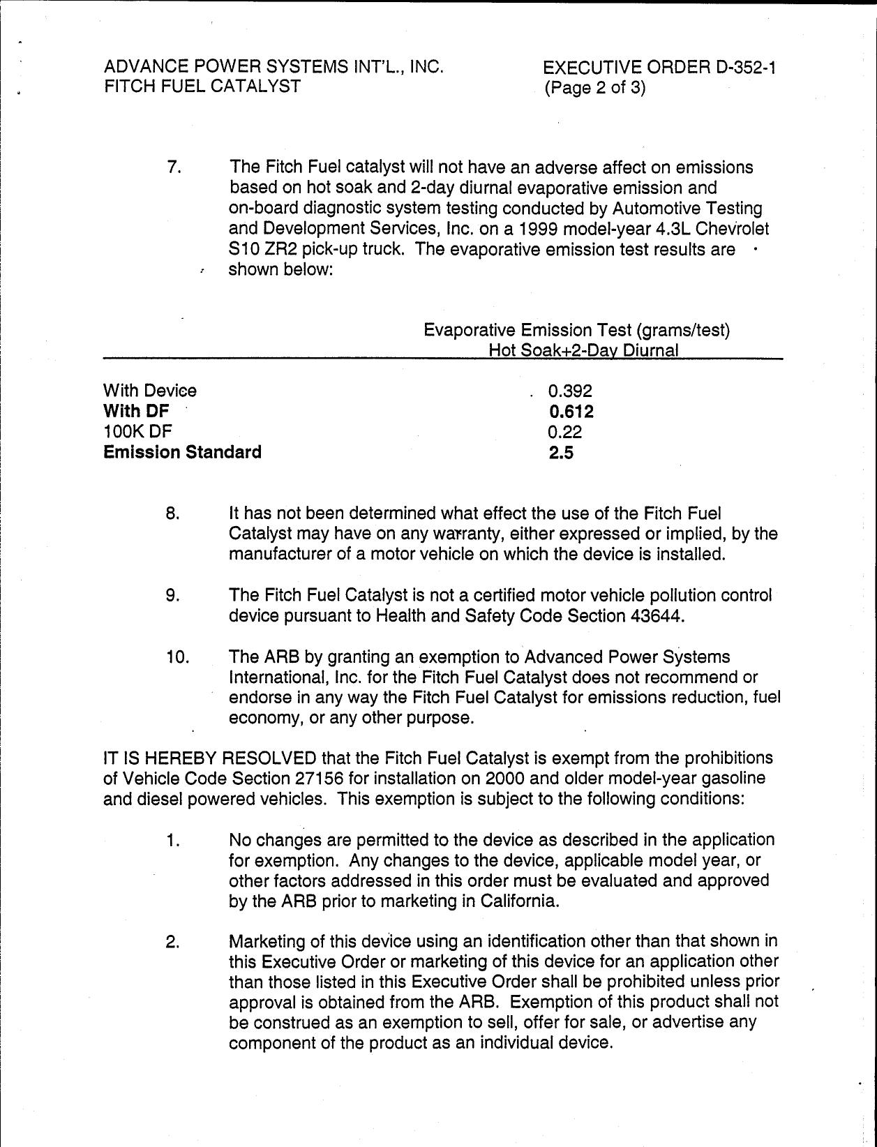 Executive Order D 352 1 Advanced Power Systems International Inc