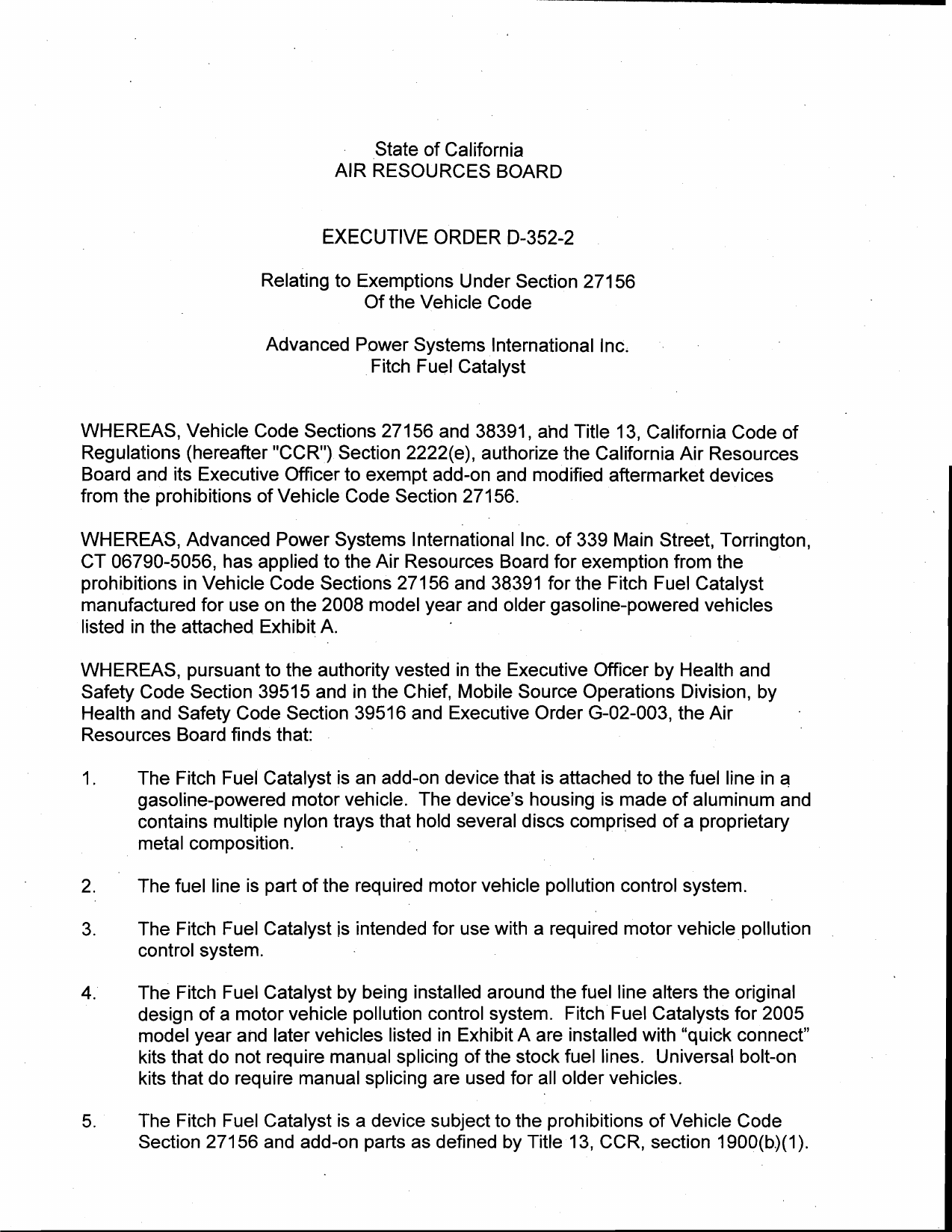 Executive Order D 352 2 Advanced Power Systems International Inc
