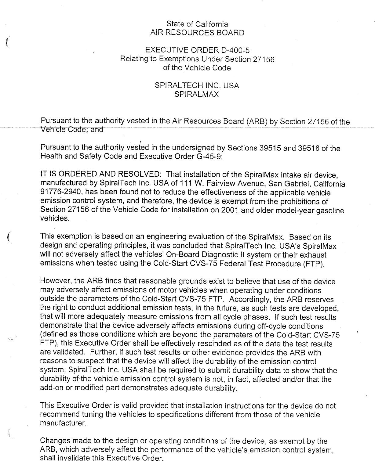 Executive Order D 400 5 Spiraltech Usa Inc