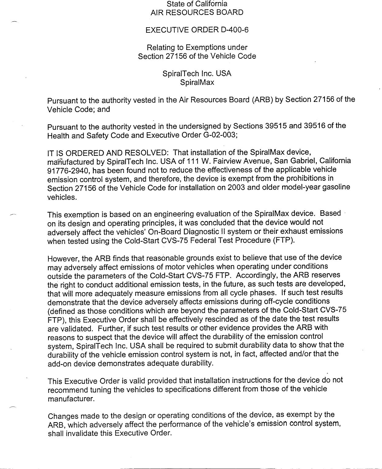 Executive Order D 400 6 Spiraltech Usa Inc