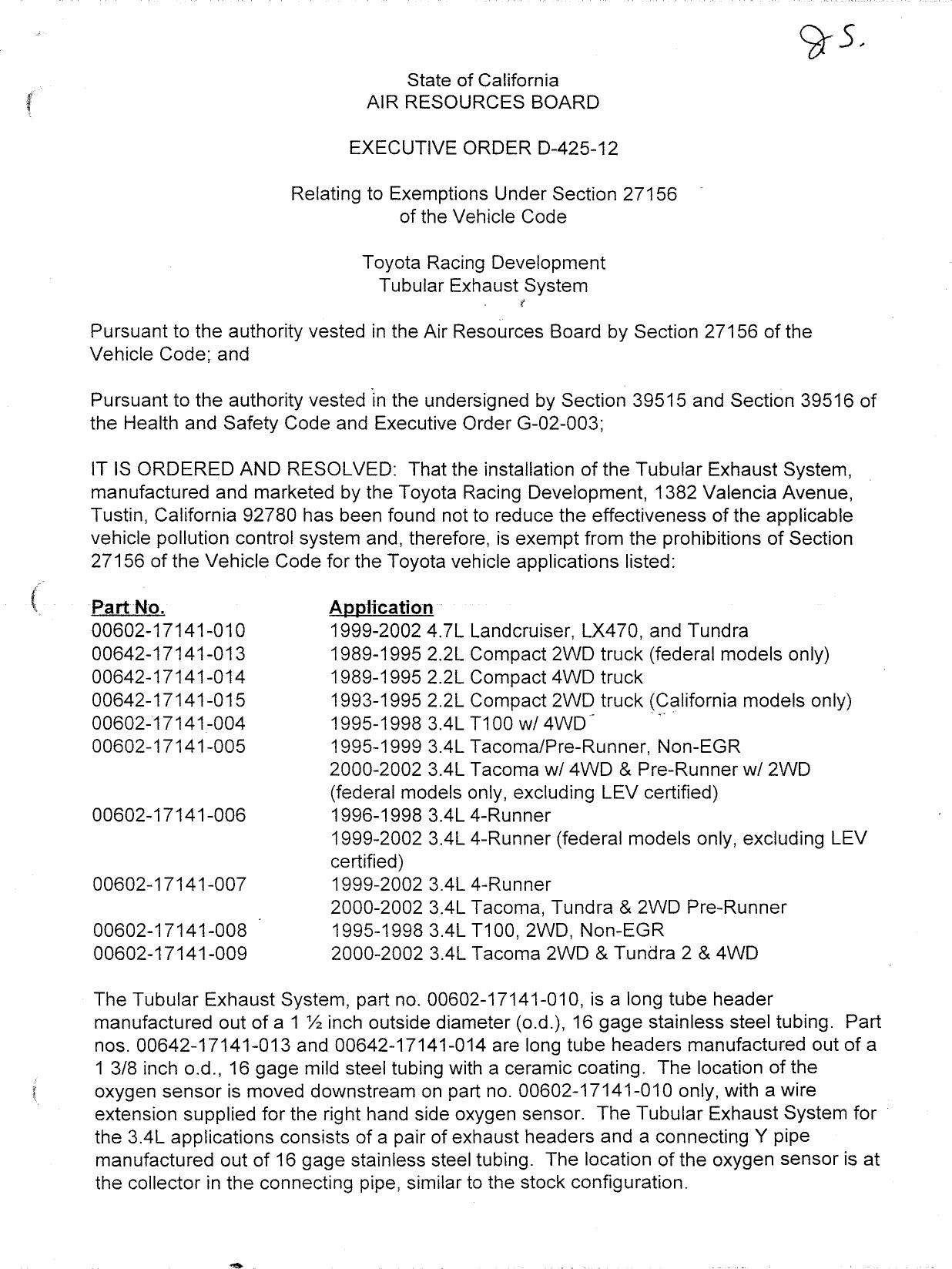 Executive Order D-425-12 Toyota Racing Development