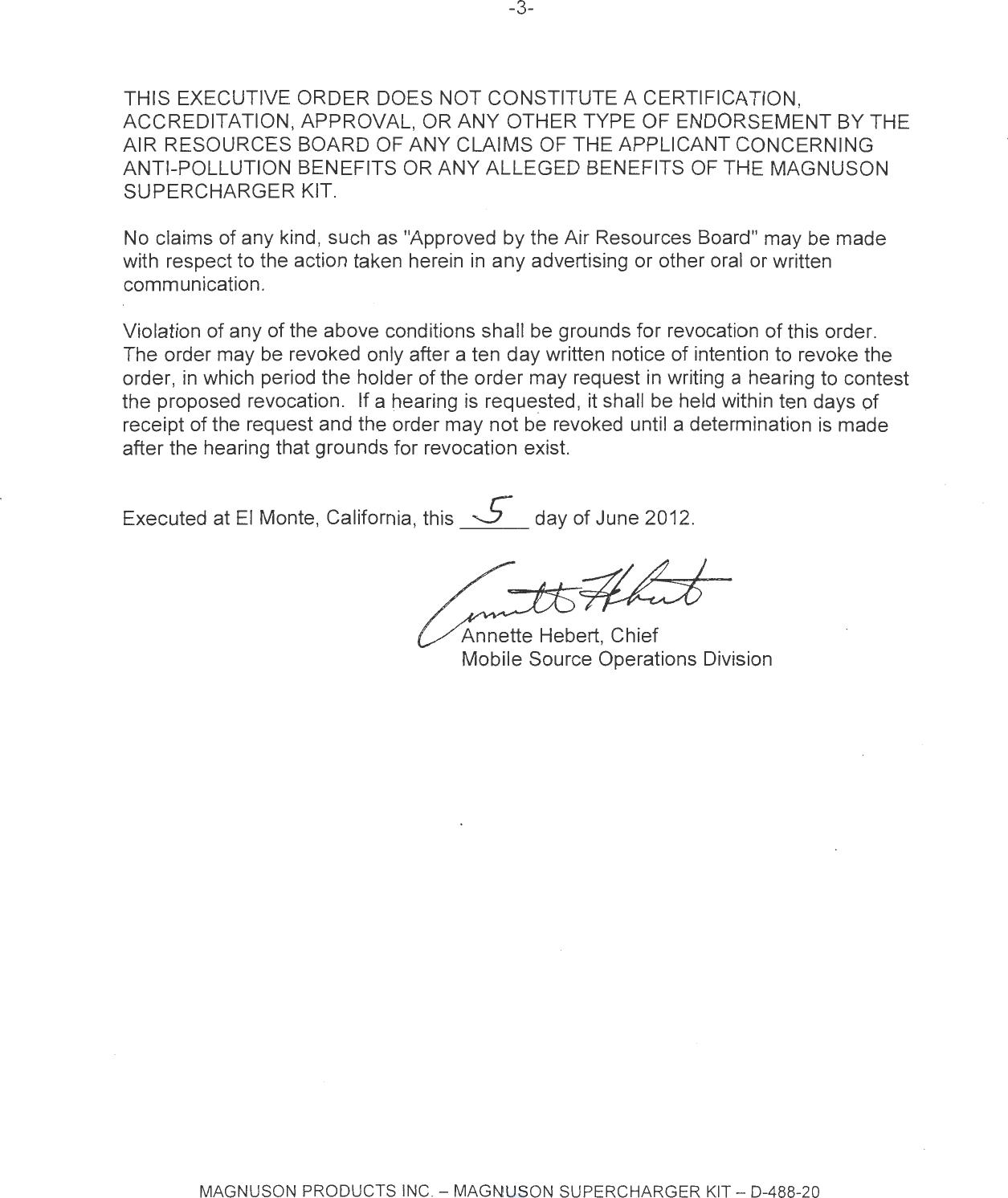 Executive Order D-488-20 Magnuson Products, Inc.