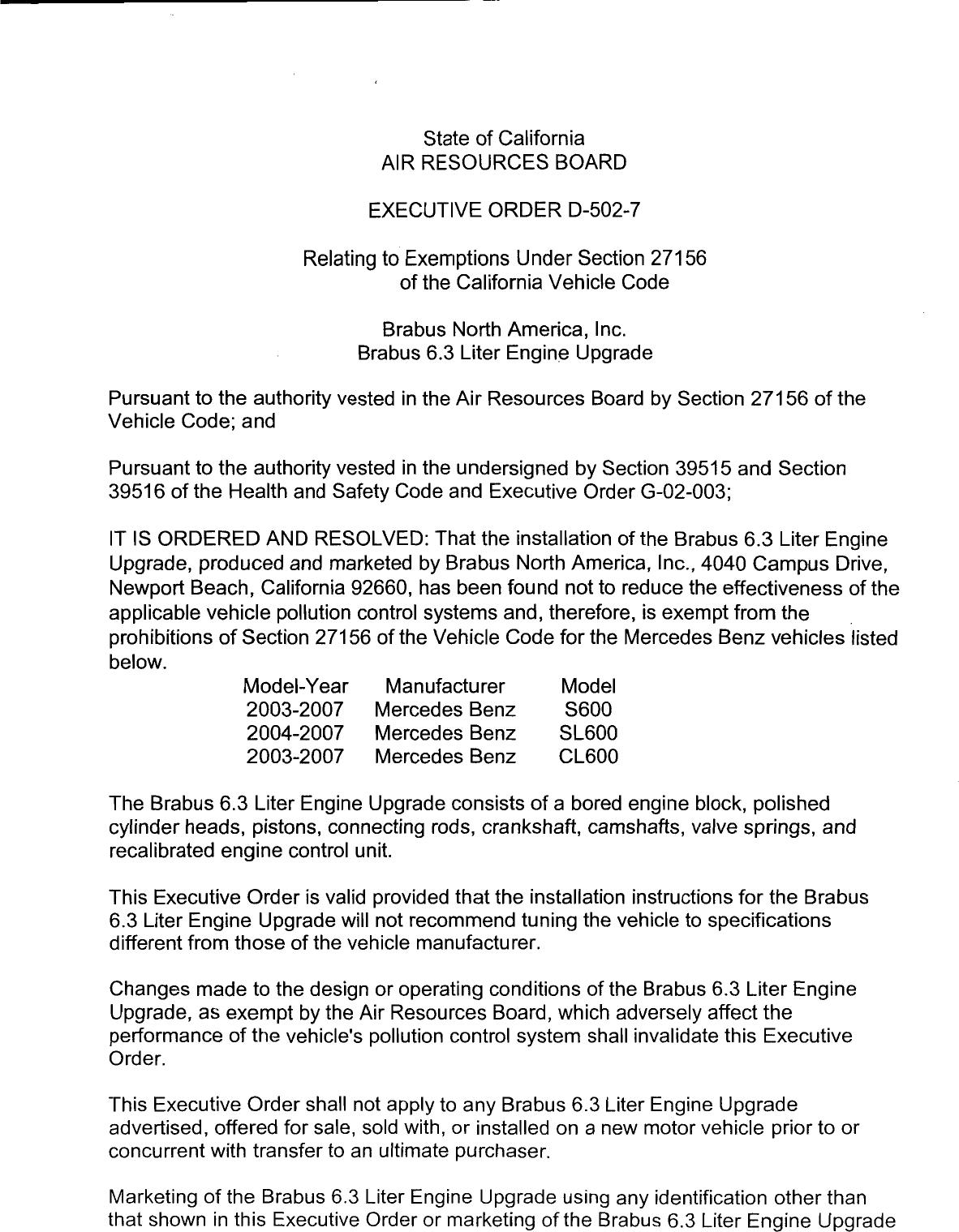 Executive Order D-502-7 Brabus North America