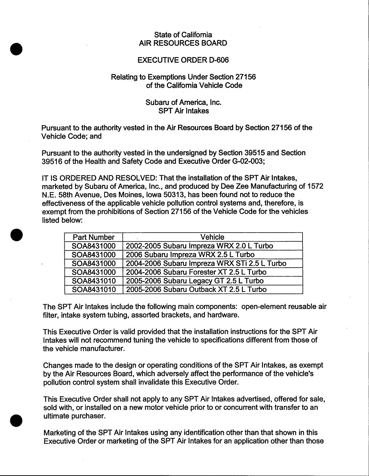 Executive Order D 606 Subaru of America Inc