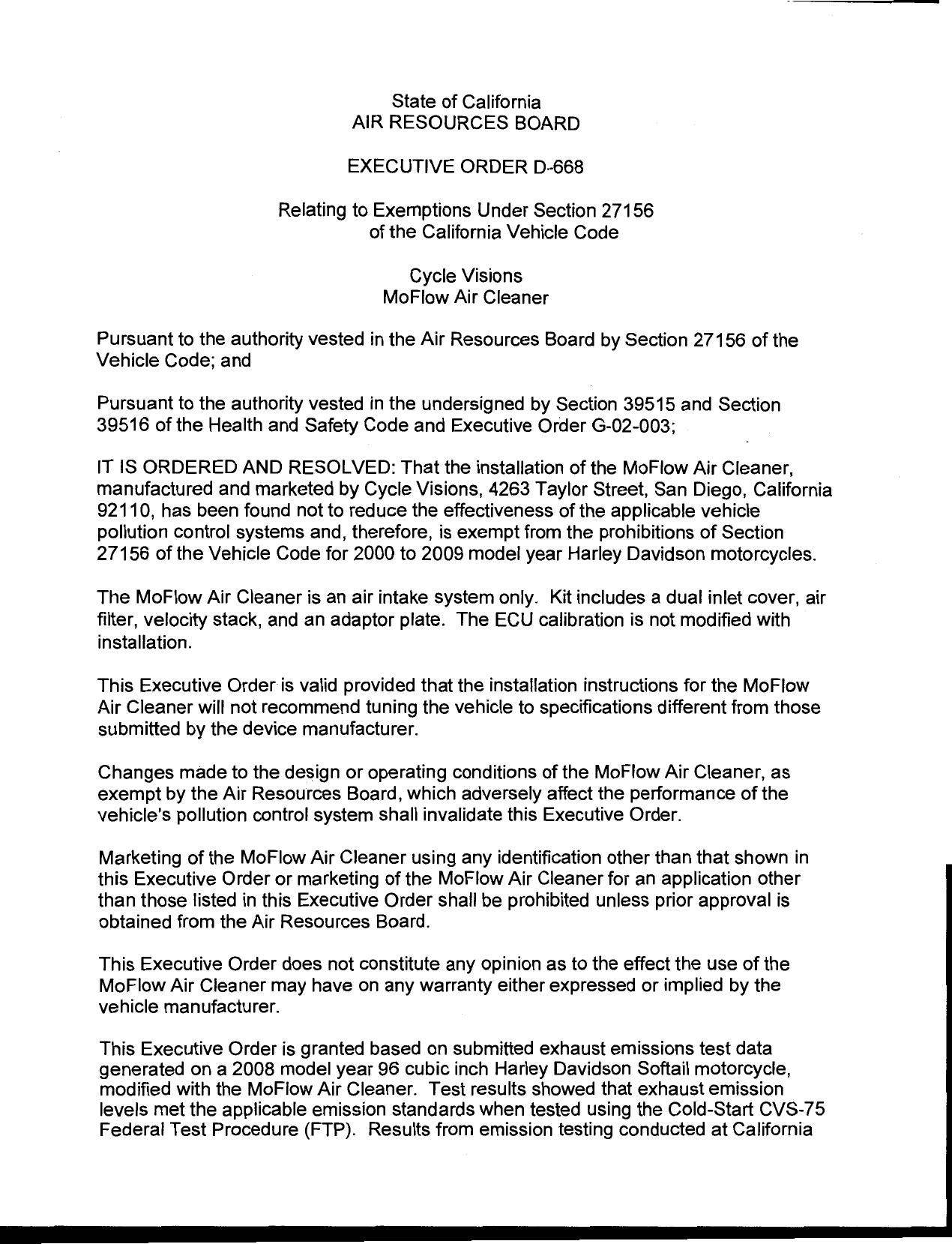 Executive Order D-668 Cycle Visions