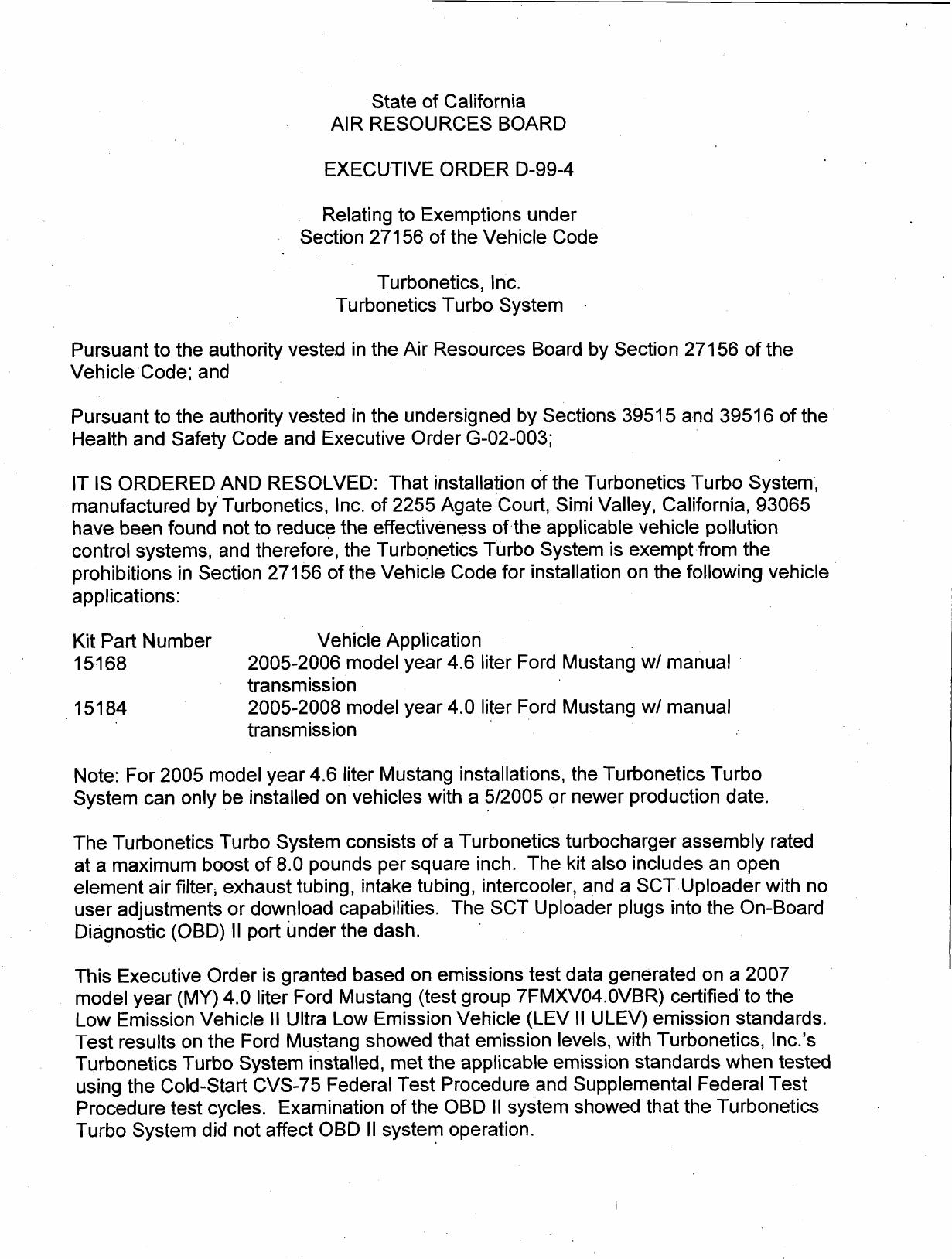 Executive Order D-99-4 Turbonetics, Inc